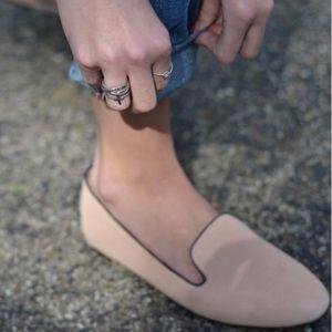 J Crew Addie Suede Smoking Flats Pink Loafers